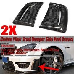 Para prawdziwe włókna węglowego samochodów przednia strona powietrza wkładka Vent kanał pokrywa tapicerka dla Mercedes Benz W204 C63 dla AMG 2012 2013 2014