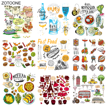 ZOTOONE Food Patch Iron on Transfers Animal Car Patches for Clothing Applications DIY T-shirt Heat Transfers Appliques Sticker E image