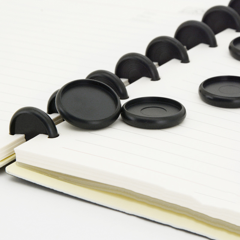6Pcs 18-53mm Loose-leaf Binding Buckle Buttons Loose-leaf Round Black Discs Mushroom Hole Note Book Binder Disc School Supplies