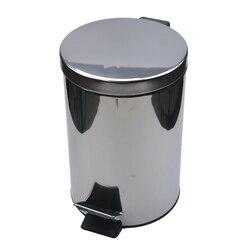 Miniaturowy kosz na śmieci z pokrywką łagodne zamykanie  okrągły kosz na śmieci w łazience z wyjmowanym wewnętrznym koszem na śmieci  stalowy kosz na odpady ze stali nierdzewnej  5L w Kosze na śmieci od Dom i ogród na