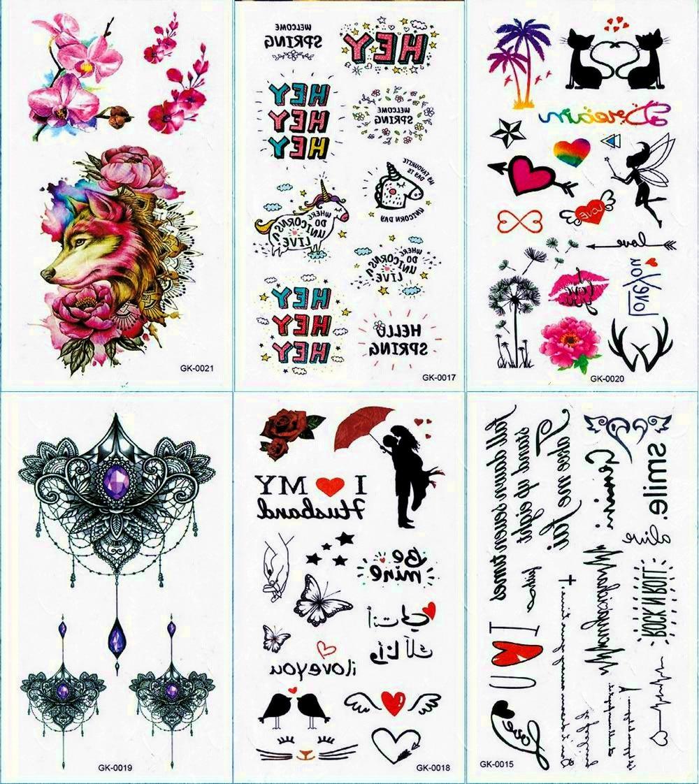 Calligraphy Text Phrases Temporary Tattoo Sticker Mandala Tattoos Mermaid And Minimalist Body Art Arm Waterproof Fake Tatoo