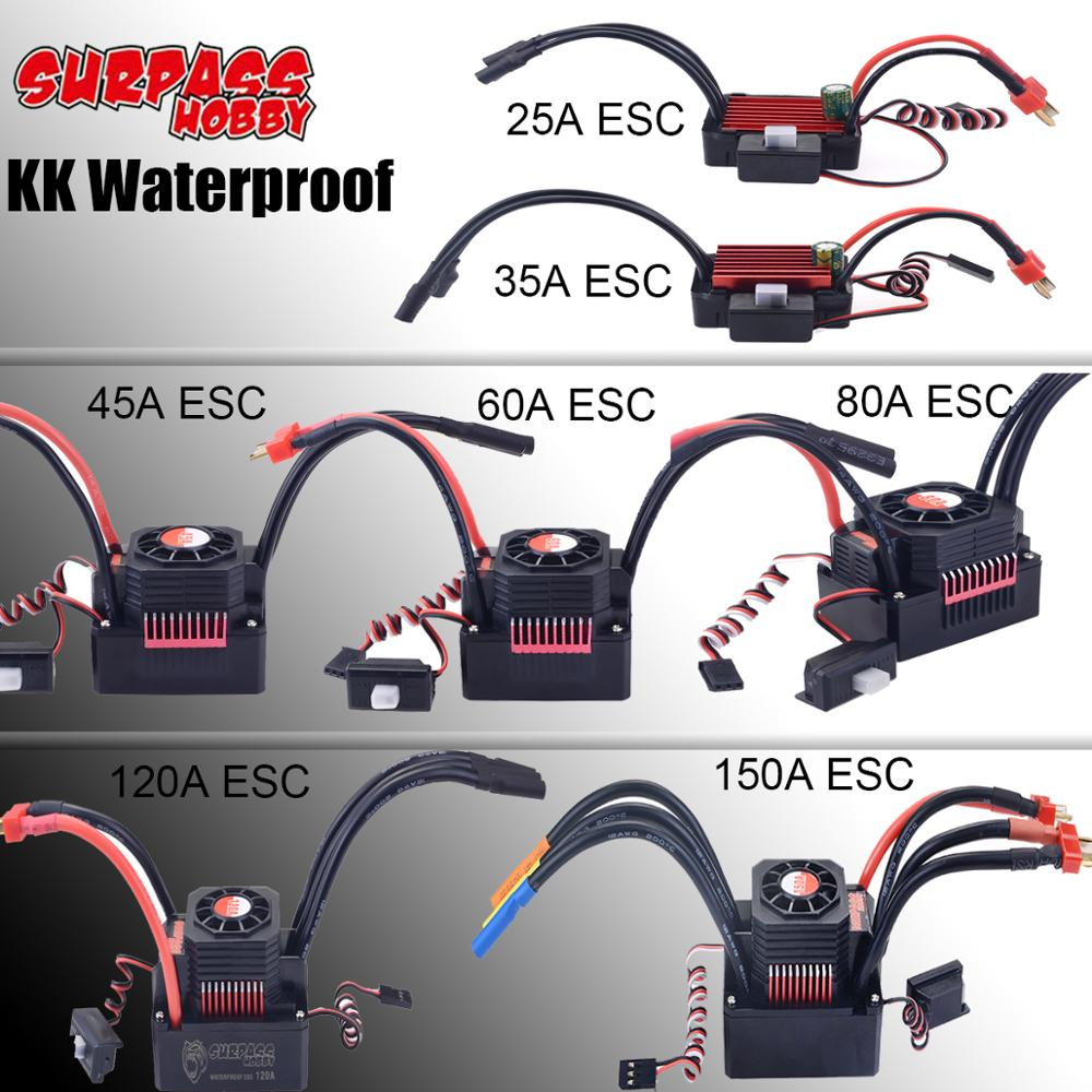 KK Waterproof Brushless ESC 25A/35A/45A/60A/80A/120A/150A ESC for 1/20 1/18 1/16 1/14 1/10 1/8 <font><b>RC</b></font> <font><b>Racing</b></font> <font><b>Car</b></font> Buggy <font><b>Truck</b></font> image