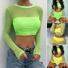 Fashion Women Transparent Mesh Sheer Tops Long Sleeve T-Shirt Tee Top
