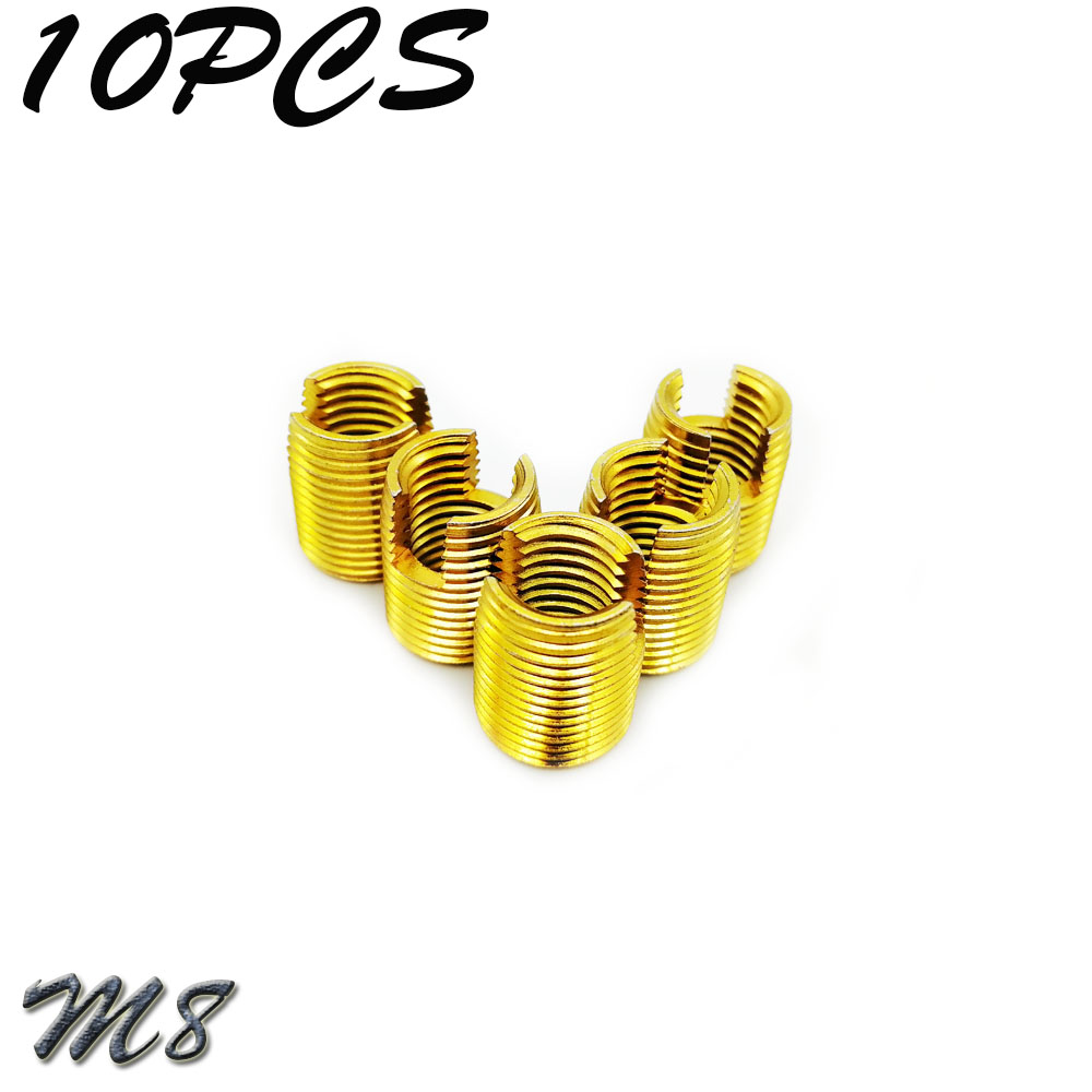 10Pcs M8 Galvanized Self Tapping Insert Screw Bushing 302 Slotted Type Wire Thread Insert Nut Repair