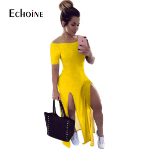 Echoine 2020 Summer Casual Women Dress Sexy Open Fork Loose High Street Bandage Party Night Club Maxi Dresses Apparel Plus Size
