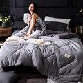 100% reiner Wolle Winter Quilt Tröster Decke Bettdecke Füllung Mit Baumwolle Abdeckung Twin Königin König Größe 5 farben wählen-in Bettdecken & Duvets aus Heim und Garten bei