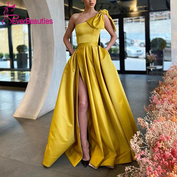 A-Line Evening Dress Long With Pockets 2020 Vestidos De Fiesta Side Split Vestidos Elegantes Robe De Soiree rolled cuff pockets side split curved dress