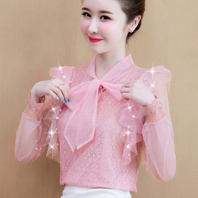 Women's Spring Summer Style Lace Blouses Shirt Women's Mesh Bow Solid Color Long Sleeve V-neck Elegant Tops SP054 1