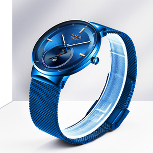 Image 4 - 2020 Watch Women And Men Watch LIGE Top Brand Luxury Ladies Mesh Belt Ultra thin Watch Waterproof Quartz Wrist watch Reloj Mujer