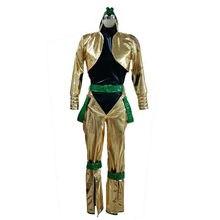 Jojo bizarro aventura filme dio brando cosplay traje ouro patente versão de couro