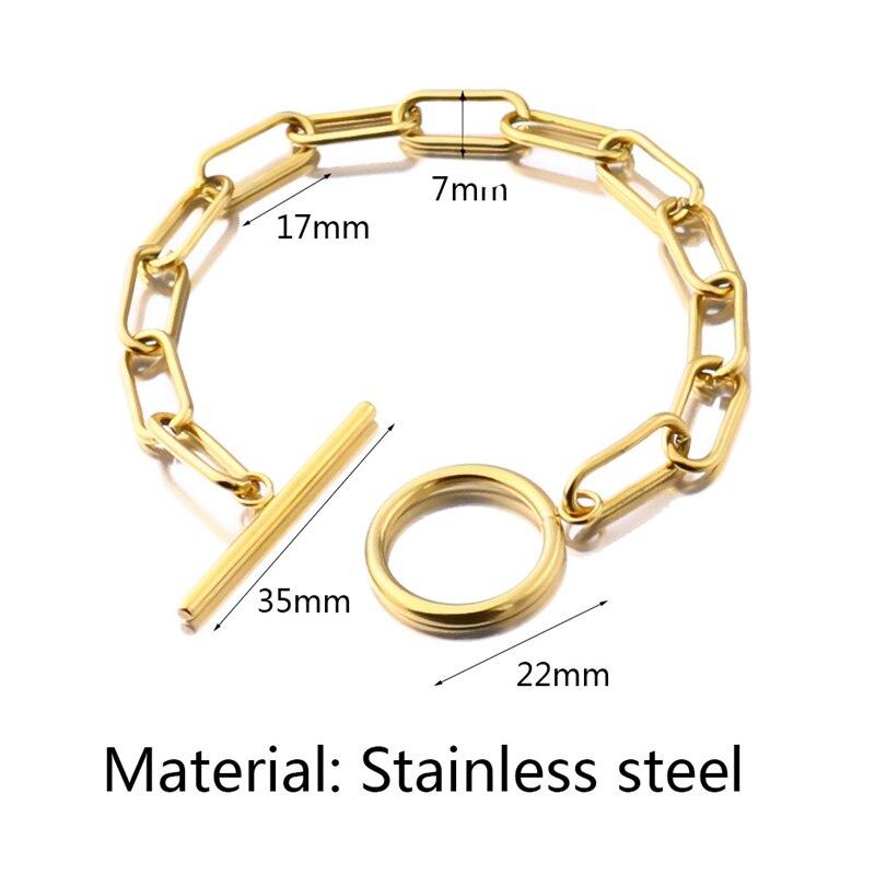 New Stainless Steel Bracelets Gold Silver Color 18cm21cm 23cm Long OT Bracelet For Women Men Jewelry Gifts, 1 Piece