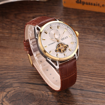 New Skeleton Tourbillon Mechanical Watch Men Automatic Classic Gold Leather Mechanical Wrist Watches man Clock Reloj Hombre
