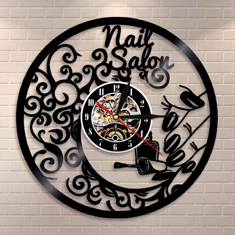 Nail Salon Wall Art Polish Bar Wall Decor Wall Clock Beauty Salon Interior Design Vinyl Record Clock Salon Business Wall Sign