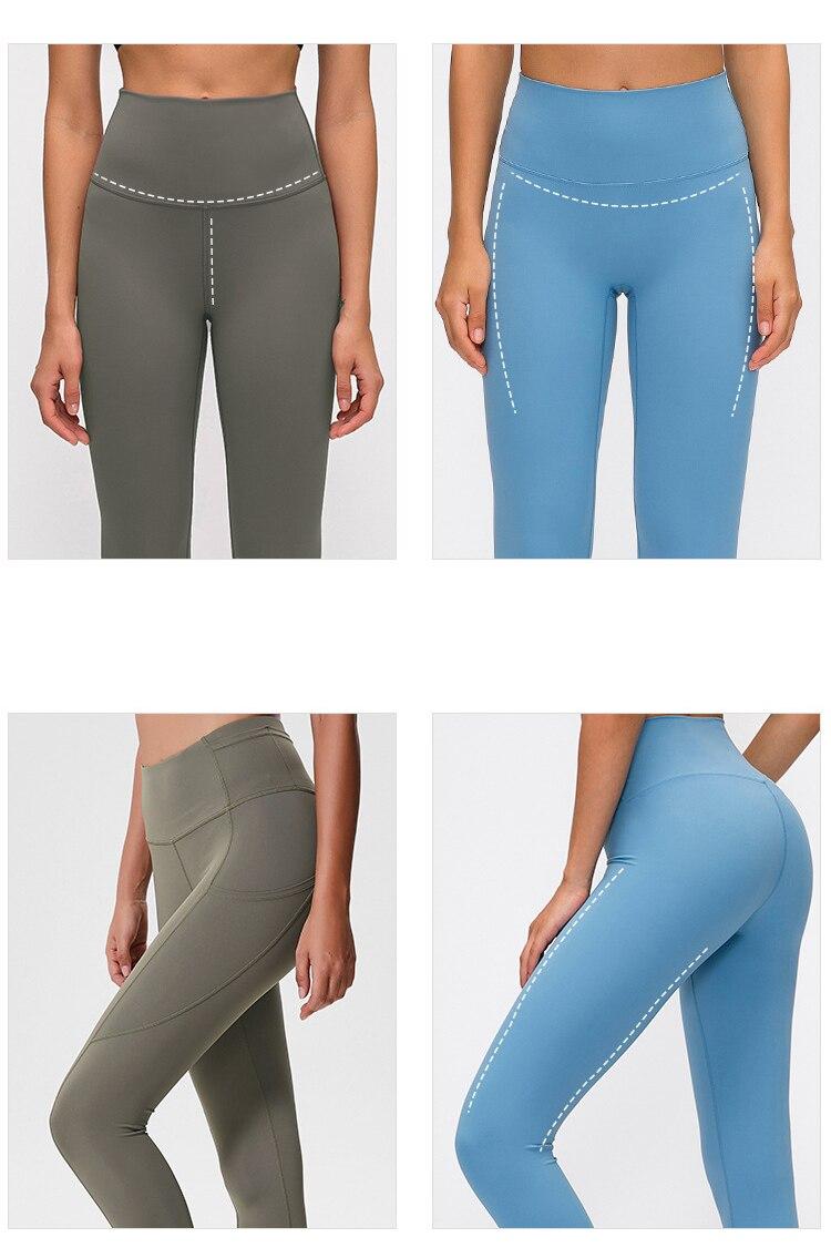 Feminino cintura alta calças de yoga clássico