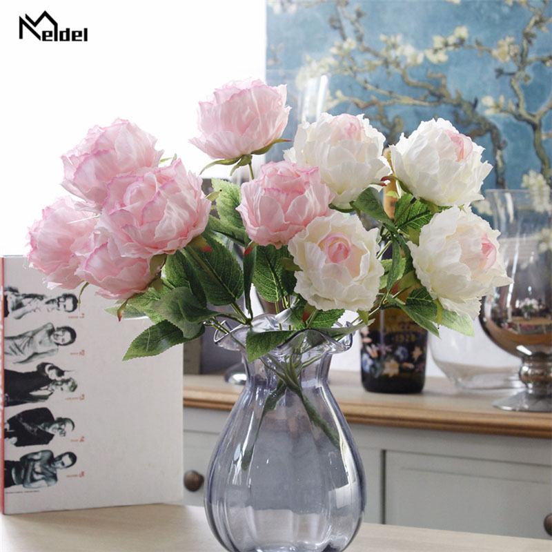 Meldel Peony Silk Artificial Flowers DIY Party Decoration Small Roses Wedding Fake Flowers Festival Supplies Home Decor Bouquet