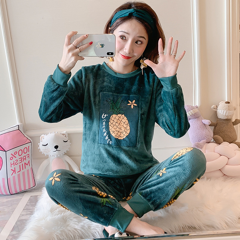 New Style Autumn & Winter WOMEN'S Pajama Flannel Pajamas WOMEN'S Dress Long Sleeve Thick Warm Casual Pajamas Suit
