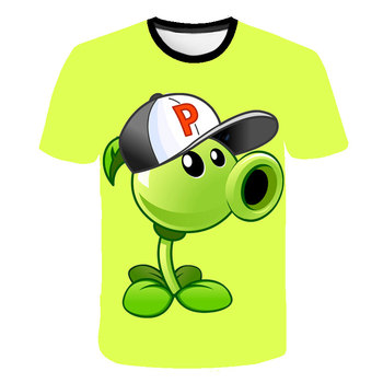 Summer t shirt Plants Vs Zombies t-shirt Cartoon T-Shirt  Casual Boys Clothes Blue 3D Printed Kids Clothes Baby funny t shirts kids t shirt funny boys clothes cartoon game print t shirt costume boys t shirt girls summer kids clothes t shirt children shirt