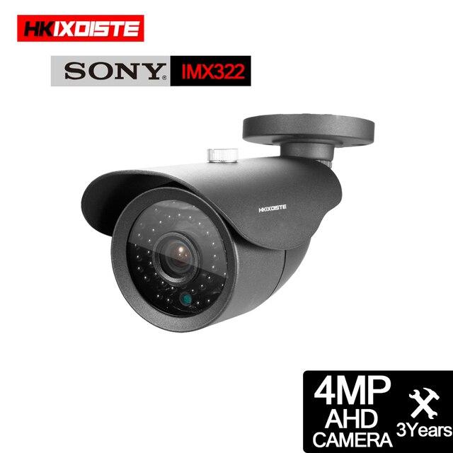 HKIXDISTE cámara HD IMX322 de 4MP, sistema AHD, CCTV, AHD, impermeable para interior/exterior, pequeña cámara de seguridad de Metal con bala de Metal