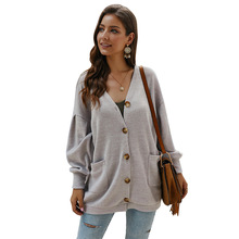 Fashion sweater coat female autumn and winter new solid color long-sleeved warm jacket