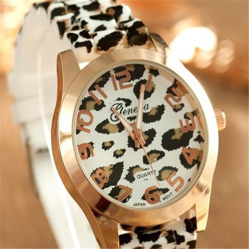 2015 Hot Fashion Women Watches Leopard Print Silicone Watch Jelly Analog Girl Wristwatch Geneva Watch