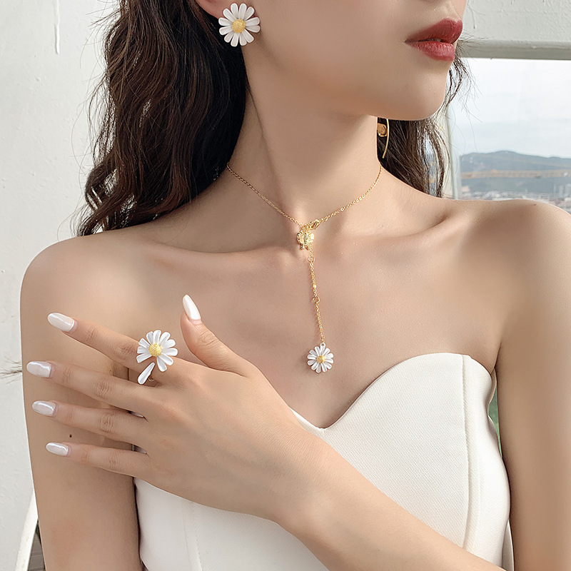 Daisy Flower Korean style Minimalist Mini Cute Single Ring Elegant  925 Silver Adjustable Open End Ring Birthday Gift for Her Everyday ring