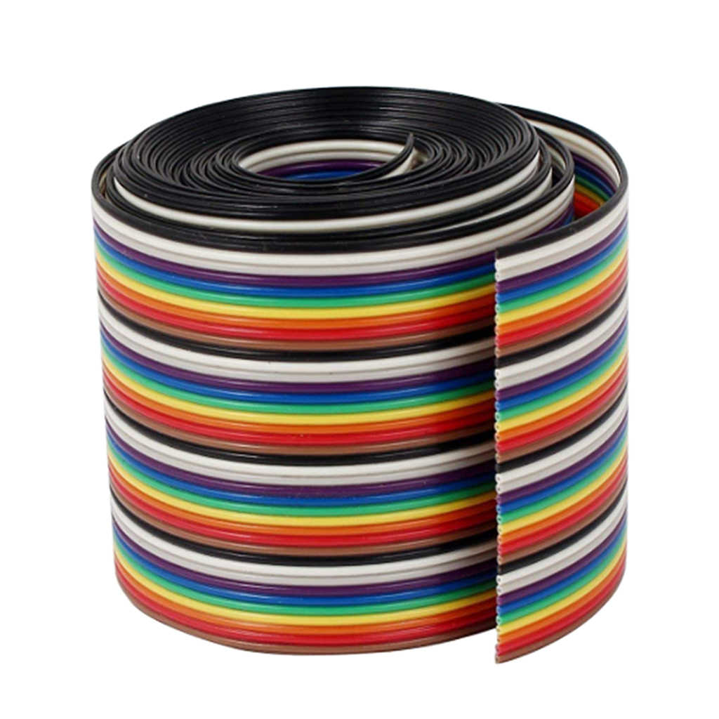 1M 1.17mm 40PIN drut płaski wielokolorowe elastyczne Rainbow wstążka kabel jumper