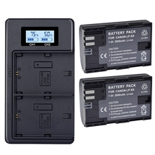 цена на 2X Lp-E6 E6N Battery 2000Mah + Lcd Dual Charger for Canon Eos 5Ds R 5D Mark Ii 5D Mark Iii 6D 7D 80D Eos 5Ds R Camera