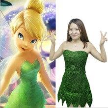 2019 ใหม่ Pixie Fairy Cosplay เครื่องแต่งกาย Tinker Bell สีเขียวชุดผู้ใหญ่ Tinkerbell ฮาโลวีนเซ็กซี่คอสเพลย์มินิกับวิกผม
