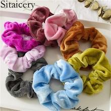 Sitaicery 20 pcs/set Velvet Scrunchie Accessories For Women Girls Elastic Rubber Hair Headbands Tie Rope Ring Ponytail Scrunchies