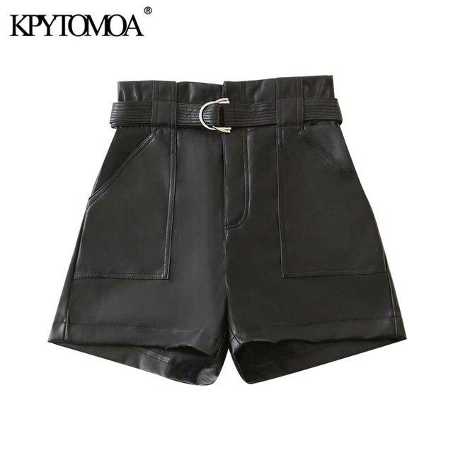 KPYTOMOA Women 2020 Chic Fashion With Belt Faux Leather Shorts Vintage High Waist Zipper Fly Pockets Female Short Pants Mujer 1