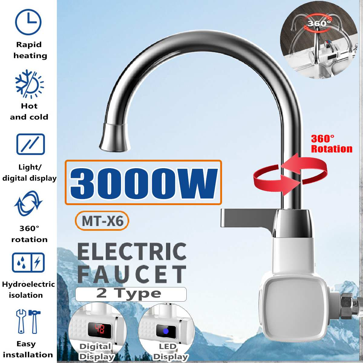 3000W Digital LED Display Instant Hot Water Tap Tankless Electric Faucet Kitchen Instant Hot Faucet Water Heater Water Heating