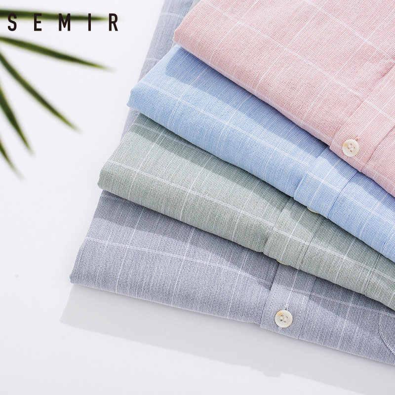 Мужская хлопковая рубашка SEMIR, летняя Однотонная рубашка с коротким рукавом в Корейском стиле