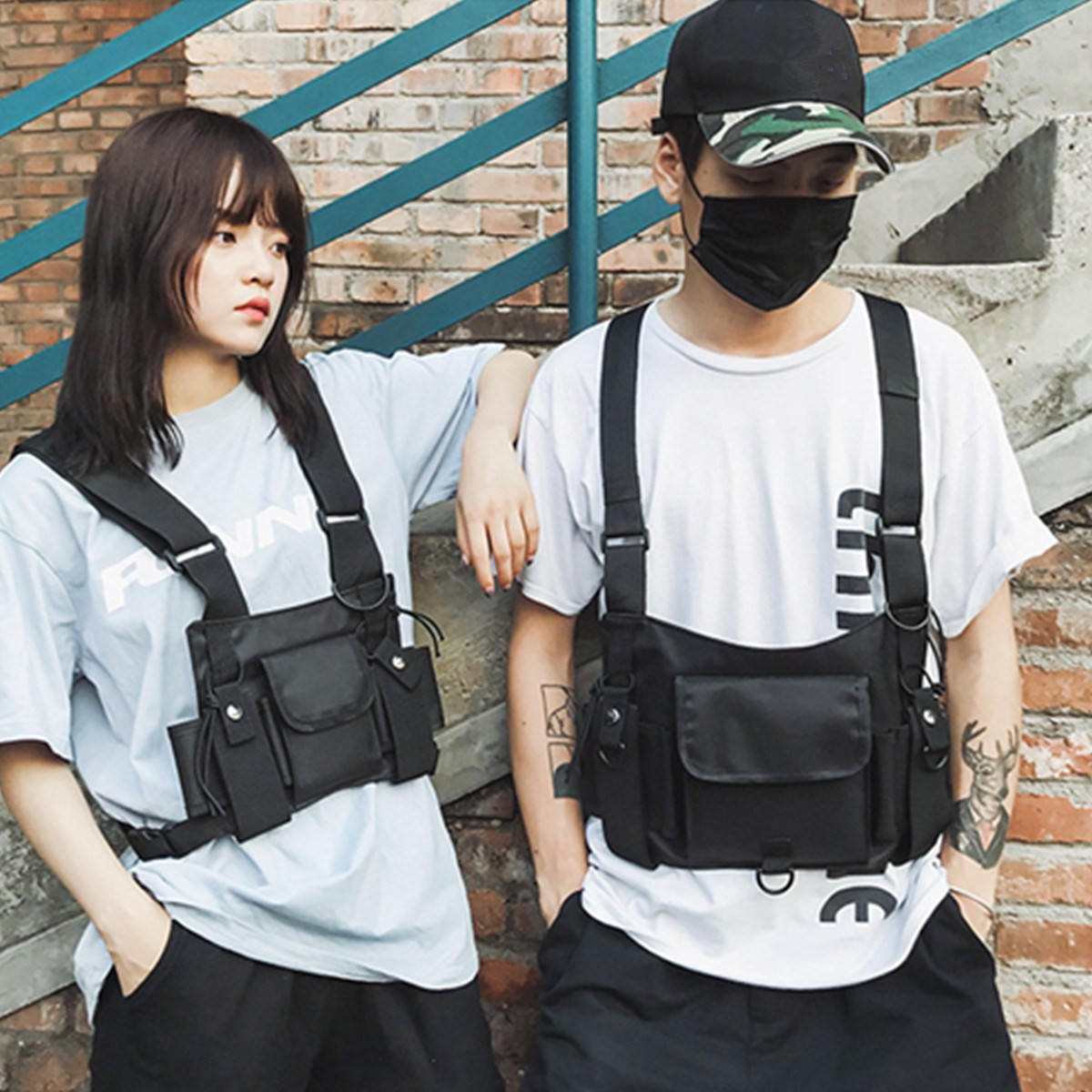 Fashion Oxford Chest Rig Bag Black Vest Hip Hop Streetwear Functional Waterproof Tactical Harness Chest Rig Waist Pack Chest Bag
