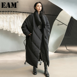 [EAM] Loose Fit Black Long Down Jacket New Stand Collar Long Sleeve Warm Women Parkas Fashion Tide Autumn Winter 2021 1DD1640