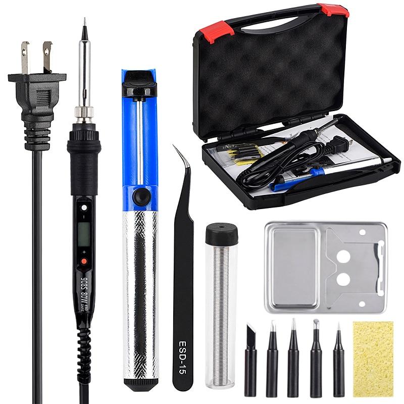 JCD LCD kit de ferro de solda de Temperatura Ajustável 110V 220V fios 80W ferramentas De Retrabalho de solda pontas de ferro de solda bomba Aquecedor stand