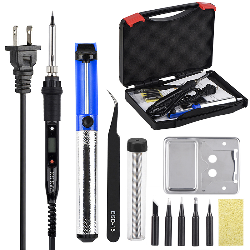 JCD Soldering Iron Kit LCD Adjustable Temperature 110V 220V 80W Soldering Rework Tools Solder Iron Tips Wires Pump Heater Stand