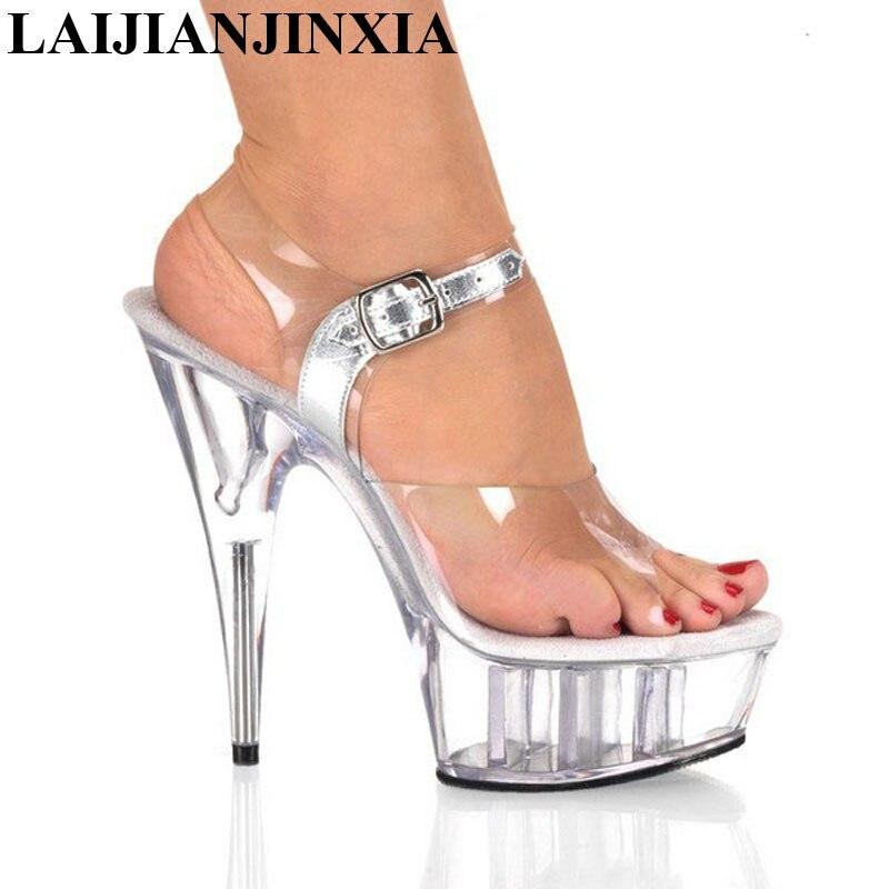 LAIJIANJINXIA 15CM High Heels Platform Transparent Sexy Sandals Nightclub Party Dancing Shoes Romantic Ladies Pole Dance Shoes