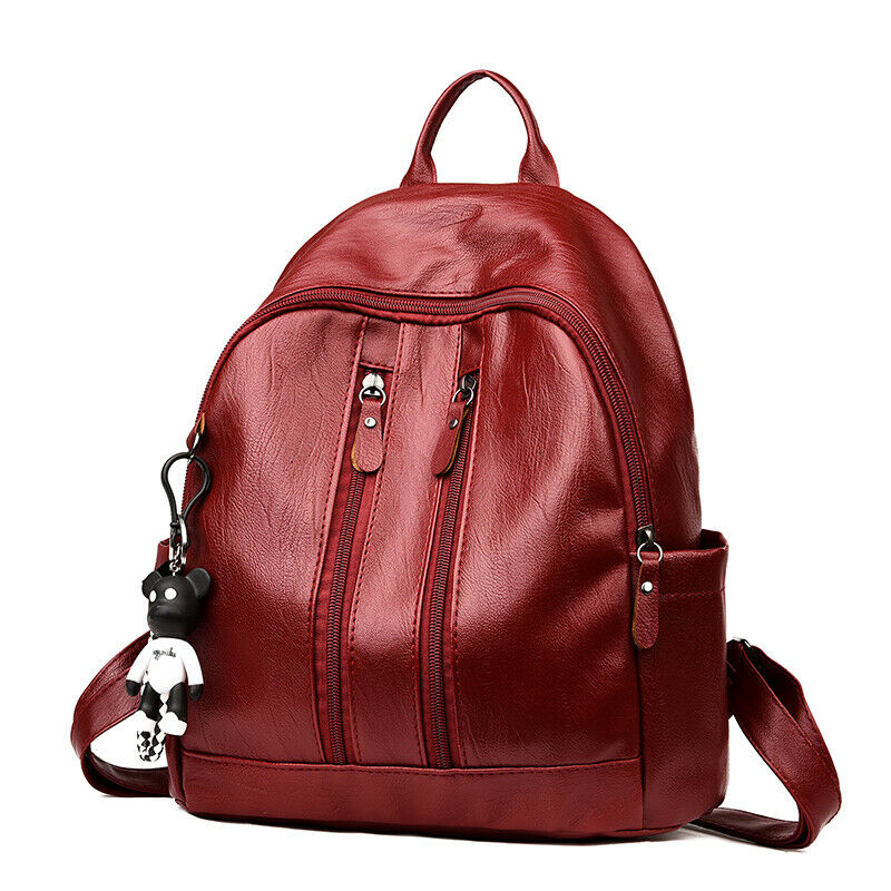 Новое поступление, женский кожаный рюкзак с защитой от кражи, школьный рюкзак,, сумка через плечо, черный, коричневый - Цвет: B