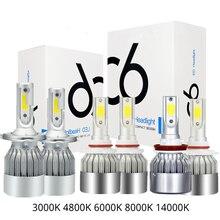 2X C6 автомобиля высокой концентрацией пластификатора Llight H11 H4 H7 H11 H13 H3 Светодиодная лампа для фары автомобиля LED H11H7 изменение супер яркий