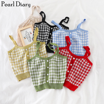 Pearl Diary Womens Knitting Crop Top Retro Plaid Camisole Top Vintage Buttoned Up Short Top Knitted Chic Tee Shirts Camis Top knot back plaid crop top