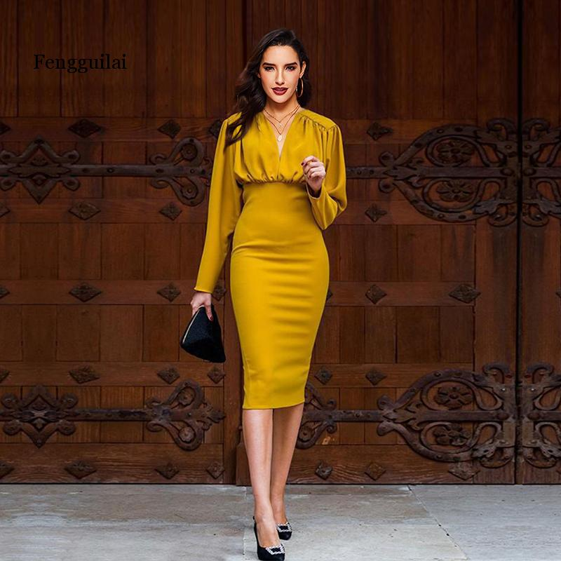 Office <font><b>Dress</b></font> Elegant <font><b>Sexy</b></font> Yellow <font><b>Women</b></font> Street Robe Vintage Pleated Long Sleeve Short Summer Party Ladies <font><b>Bodycon</b></font> <font><b>Dresses</b></font> image