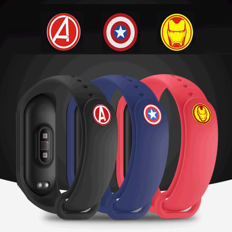 Wristband Marvel Avengers Metal Button For Xiaomi Mi Band 4 3 Band4 Band3 Smart Miband Silicone Wrist Strap Belt Buckle Bracelet