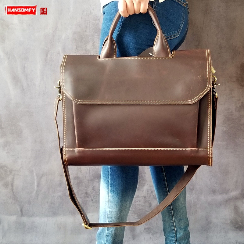 Retro Genuine Leather Women Handbags Ladies Business Briefcase Crazy Horse Leather Female 14 Inch Laptop Shoulder Messenger Bags