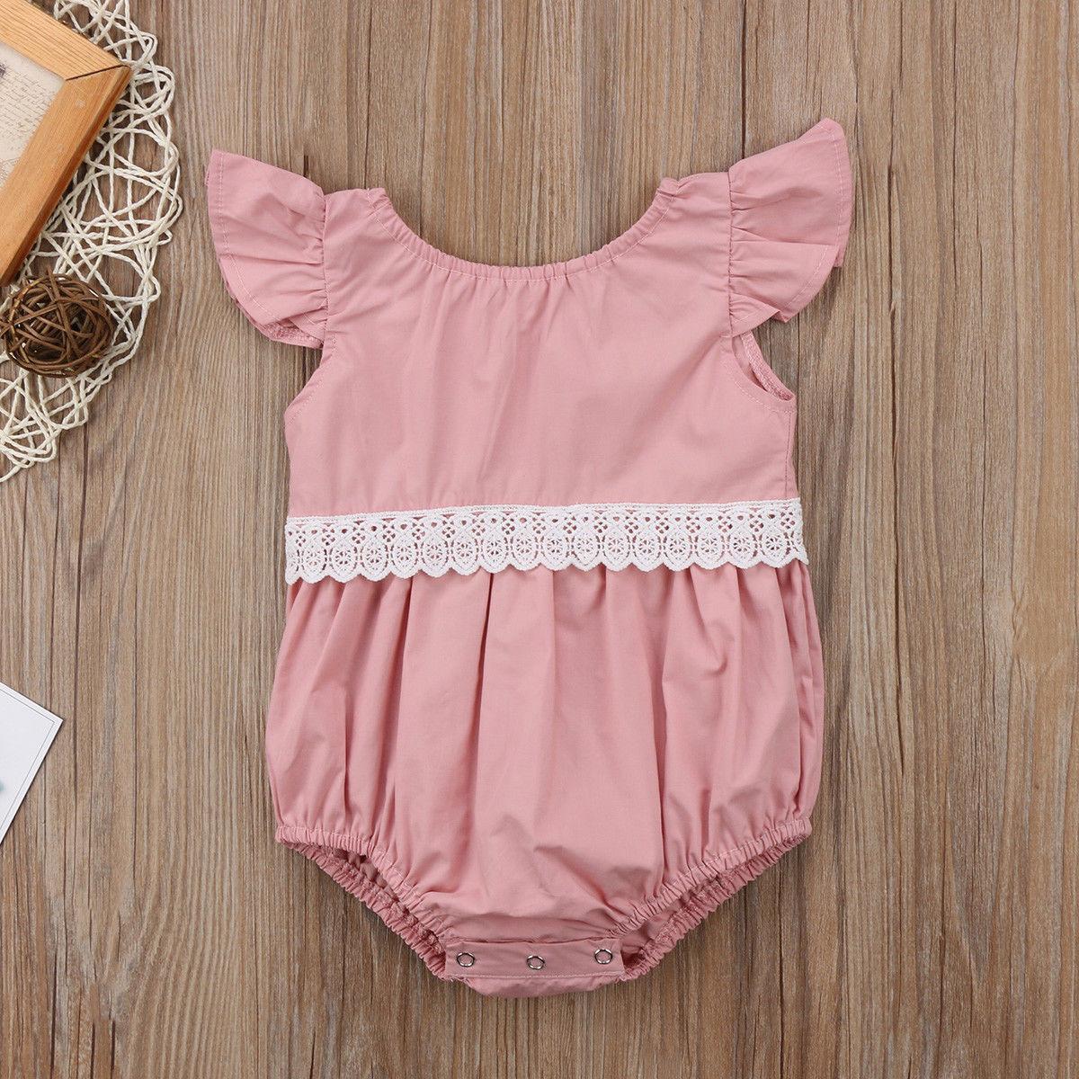 Newborn Kid Baby Girl Clothes Lace Jumpsuit  Bodysuit Sunsuit Outfit Set N