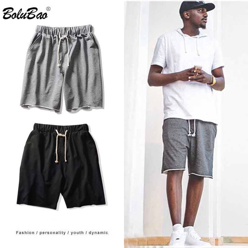 BOLUBAO Men Straight Casual Shorts Quality Brand Men's Loose Elasticity Short Summer New Solid Color Drawstring Shorts Male
