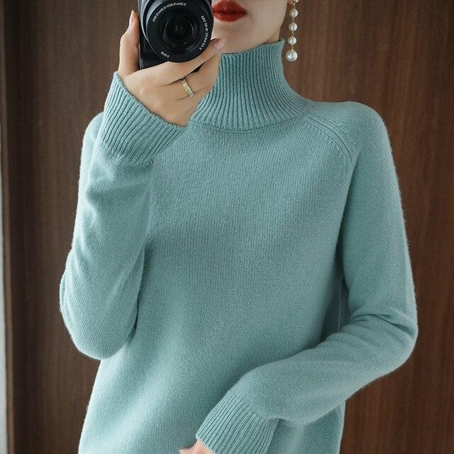 Женский кашемировый свитер с высоким воротником и длинными рукавами 4