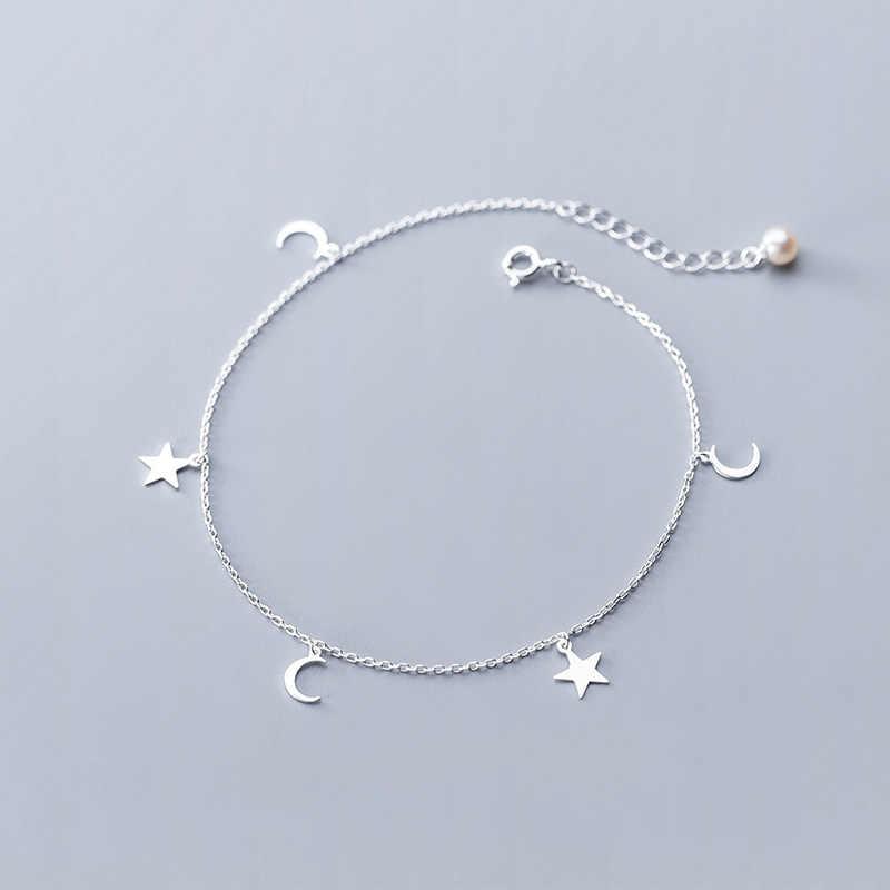 シルバー 925 ジュエリー真珠足首のブレスレット女性のためのムーンスターチャームリンクチェーンアンクレットフットジュエリー高級真珠かわいいアンクレット