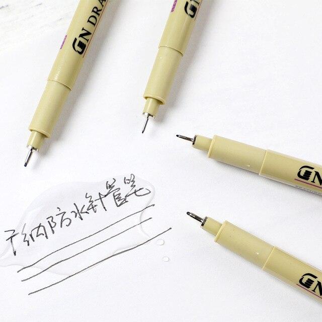 5 Pcs/lot Pigment Liner Ink Marker Pen 0.05 0.1 0.2 0.3 0.4 0.5 0.6 0.8 Different Tip Black Fineliner Sketching Brush Pen Pens 1