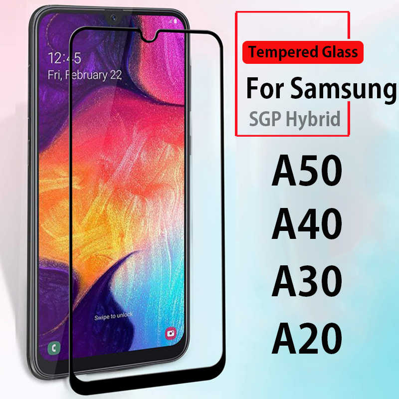 For Samsung A50 full cover case on the for samsung galaxy a50 a30 a20 a40 tempered glass case on samsun sansung a 50 SM-A505F/DS