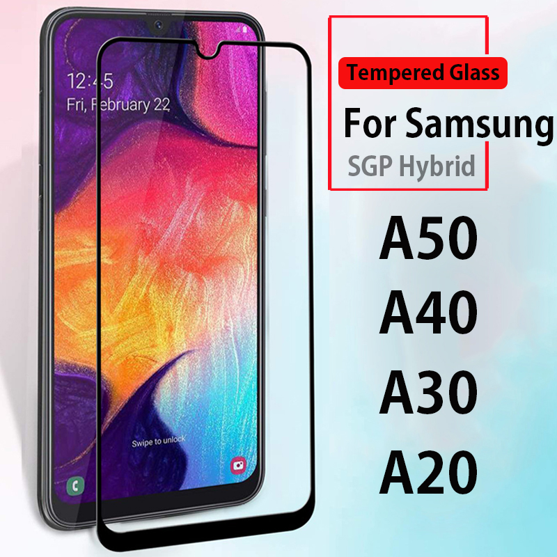 For <font><b>Samsung</b></font> A50 full cover <font><b>case</b></font> on the for <font><b>samsung</b></font> galaxy a50 a30 a20 <font><b>a40</b></font> tempered <font><b>glass</b></font> <font><b>case</b></font> on samsun sansung a 50 SM-A505F/DS image